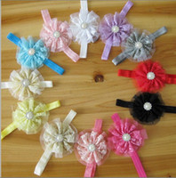 Lace bead stick pins - Toddler Baby Girl Lace Flower Bead Diamond Hairband HeadBand Headwear Bow Hair Clip Pin Band Hair Accessory Jewelry Boutique Multicolor gift