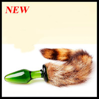 Wholesale 2013 Newest design colors very smooth Crystal Butt Plug Jewelry Anal Plugs with sexy soft fox tail sex toys BDSM toy