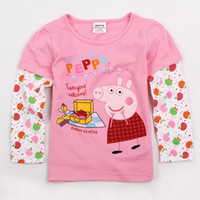 Girl Spring / Autumn Standard F4279# Nova 18M-6Y baby girls pink t-shirts cartoon cute Peppa pig tshirts cotton long sleeve tees girls autumn winter tops children clothes