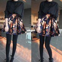 Wholesale New Fashion Women European Retro Floral Printing Pleated High Waist Skirt G681