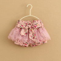 Wholesale Baby Girls Short Pant Flower Floral Short Pants Short Bloomers Pajamas PJ S Fluffy Pants Tutu Skirt Colors Per CC252