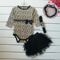 Wholesale Child Suit Girl Clothes Three Piece Bows Headbands Leopard Print Rompers Black Tiered Skirts Baby Clothing Children Set Kids Suit Outfits