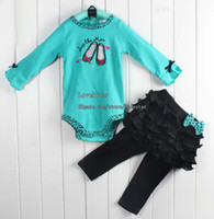 Wholesale Lovely Set Child Suit Girl Clothes Two Piece Blue Long Sleeve Rompers Cute Lace Skirt Leggings Baby Clothing Children Set Kids Suit Outfits