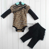 Wholesale Infant Outfits Child Suit Girl Clothes Two Piece Leopard Print Rompers Cute Lace Skirt Leggings Baby Clothing Children Set Kids Suit Outfits