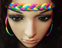 Cheap Headbands rainbow loom hairband Best rainbow color Bohemian braided headband
