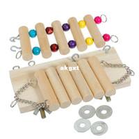 Wholesale Mouse Parrot Bird Hamster Playground Wooden Ladder Swing Bridge Shelf Cage Toys G681