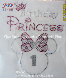 Wholesale 30pcs Abstract Minnie Mouse Birthday Princess Rhinestone Iron On Transfer Hot Fix Motif Number Can Choose