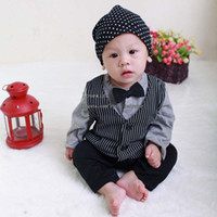 Wholesale Fashion One Piece Clothing Infant Boy Rompers With Bow tie Children Stripe Long Sleeve Jumpsuits Kids Climb Clothes Baby One Piece Romper