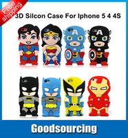 Wholesale 3D Cute Superman Batman Spiderman super iron man Hero Ironman venom Soft Silicone Back Case Cover Skin for iPhone S G iphone G
