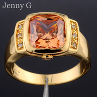 Wholesale Size Genuine Brand Jewelry Big ct Square Orange Topaz Gemstone KT Yellow Gold Filled Solitaire Ring