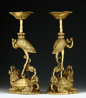 oriental statues - cheap H CM PAIR OF ORIENTAL CHINESE CARVED COPPER CANDLE STICK CRANE STATUES
