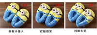 Wholesale Despicable Me Precious Milk Dad little yellow people D eyes winter home warm slippers with plush package minons yellow people