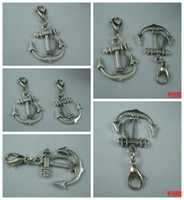 Wholesale MIC Antiqued Plated Silver Tone Sided Anchor Charm Pendant mm And Lobster Claw Clasp b76
