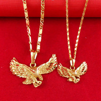 Wholesale Fashion Cool Eagle Pendant Water Resistant K Gold Plated Stainless Steel Necklace Chain Gift