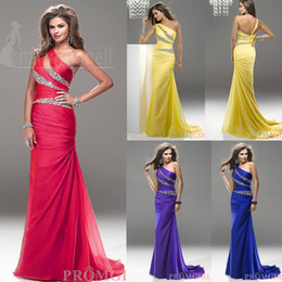 Wholesale New Year Sexy Party Dresses One shoulder Mermaid TrumpetProm Gowns Cocktail Celebrity Chiffon Floor length Sequin Sweep Brush