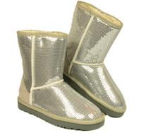 Wholesale dorp SHIPPING New Women Fashion glitter sequins Snow Boots BOOT Winter Shoes Black Blue purple golden Silver colors