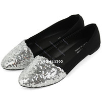 Wholesale 4Pairs Fashion New Nice Womens Comfort Simple Style Sequin Cloth Casual Flat Shoes Flats Colors F Abia