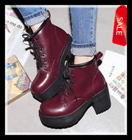 Wholesale Trendy Women Burgundy Martin Boots Colors Vollege Wind High Platform Chunky Heel Lace Up Shoes ePacket