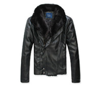 Jackets Men Polyester Men's winter warm washing machine wagon jacket fur fashion leather jacket black (M, L, XL, XXL)