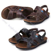 Wholesale New Casual Male sandals Leather Buckle Embellished Slippers Men s Beach Shoes Colors Sizes Abia