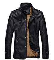 Jackets Men Fur Men stand collar leather jacket Men's winter warm fur fashion machine wagon jacket leather jacket black