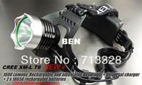 Wholesale 1600Lm CREE XM L XML T6 LED Headlamp Rechargeable Headlight MAH SET A1 Charger