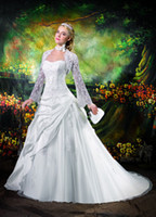 Wholesale 2014 New Arriva Sweetheart Strapless A line Taffeta Beading Applique Wedding Dresses Chapel Train Bridal Gowns With Lace Long sleeved Jacket