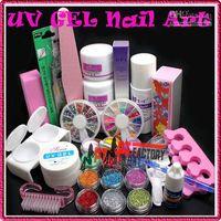 UV Gel Nail Art Set Yes  Wholesale - Glue UV Tip Kit Set Pro Full Acrylic Powder Liquid French Nail Art Brush Free Shipping