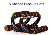 Wholesale 2 pieces S Shape Push Up Stands Push up Bars Chest Muscle Strength Building Exercise Fitness Equipment