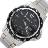 Fashion Men's Day/Date 2014 Free Shipping !!! Smart Trendy Good Round FW904A Black Dial Shiny Silver Band Round PNP Shiny Silver Watchcase Mens Watch