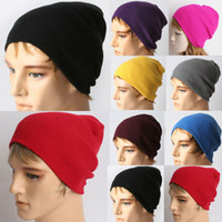 Wholesale Drop shipping Unisex Solid Color Warm Plain Acrylic Knit Ski Beanie Skull Hat W4202