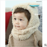 Wholesale 2013 New Kids Hats Children Velvet Caps Boy Cute Bear Caps baby winter warm shawl Children accessories Baby hats Girls fashion caps