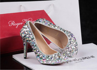 Wholesale New Style Autumn Dazzle Colour Crystal Low Help Shoes High Heels Round Head Heel Shoes Wedding Shoes Banquet