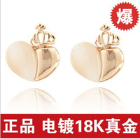 Women's allergy free earings - Sweet Heart Shaped Opal Stud earings High end Crown Princess Allergy Fashion Jewelry Studs Earrings for Women Top Quality