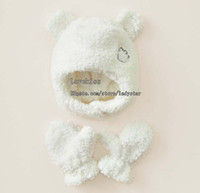 Wholesale Kids Winter Cap Children White Casual Caps Boy And Girls Cute Animal Modelling Caps Coral Fleece Cap Warm Gloves Mittens Beanie Hat Caps