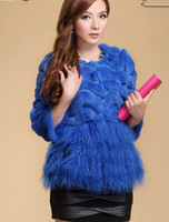 Wholesale mongolian fur sheepskin tassel rex rabbit fur coat natural real genuine coats of china women winter vest vests for down ostrich