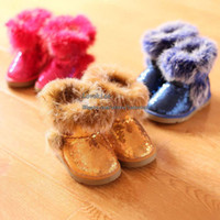Wholesale Kids Winter Boots Children Snow Boots Warm Shoes Boy Girl Cute Sequins Snow Boots Kids Fur Boots Childrens Footwear Fashion Leather Boots