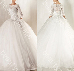 Best Selling Ball Gown Bateau Floor Length White Organza 3 4 Lace Sleeve Wedding Dress 2014 Free Shipping Sexy Designer Wedding Gowns
