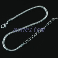 Wholesale 30pcs Snake Chain Lobster Clasp European Bracelet Bangle Fit Charm Bead