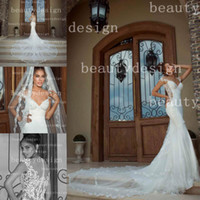 Wholesale Exquisite sexy off the shoulder zipper back mermaid wedding dresses cap sleeves chapel train white lace bridal gowns GL1407