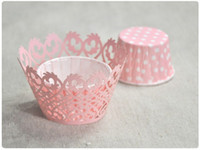 Wholesale Beautiful Lace flowers cupcake wrappers bulk baking paper for wedding and festival party