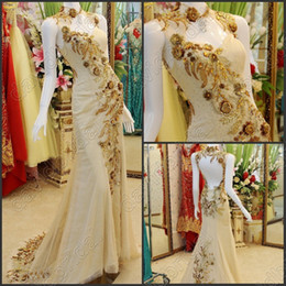 Wholesale Exquisite Applique Crystle Beaded High Neck Chinese Stryle Cheongsam Evening Gowns Backless Sexy Party Prom Dress Gowns Chic
