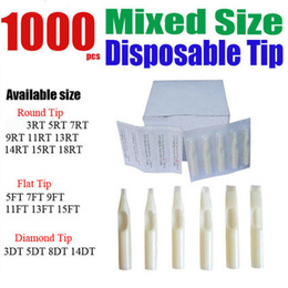 Wholesale 1000 x Disposable Tattoo Tips White Color Assorted Mixed Size for Grip Needle Ink Kit