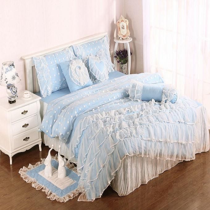 Light Blue Cotton Satin Princess Lace Girl Duvet Cover Bed