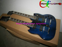 Solid Body 6/12 strings Mahogany Blue Custom Shop DES1275 Double Neck Electric Guitar 6 12 Strings High Quality HOT