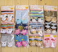 Wholesale Newest cute baby boys girls D cartoon small bell anti skidding floor board short sock pairs W608