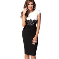 Wholesale Women s clothing Europe Style Ladies dress Celeb Evening Fitted Formal Party Pencil Bodycon black white patchwork Short Sleeve Dress