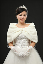 Warm Winter Coat Wraps Ivory Faux Fur Wedding Bolero Jacket