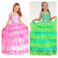 Reference Images Girl Beads 2014 Vintage Pink Two Tones Halter Lace Tiered Party Ball Gowns Pageant Dress For Little Girls