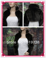 Wholesale Faux Fur Fabric White Black Wedding Shawls Wraps Bridal Cape